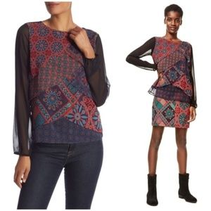 DESIGUAL Capas Birmania Print Top Tiered Blouse M